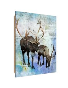 Tableau bois Abstract vintage deer and reindeer