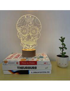 Lampe Bulbing FLORAl Skull 3D À Lumières Led