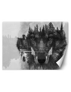 Papier peint Loup et forêtL | Feeby | Noir et blanc