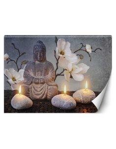 Papier peint Bouddha avec des bougiesL | Feeby | Gris