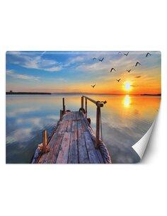 Papier peint Terrasse en bois et coucher de soleilL   Feeby   Bleu