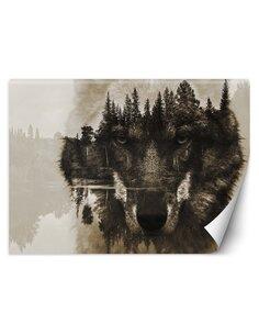Papier peint Loup sur fond de lacL | Feeby | Marron