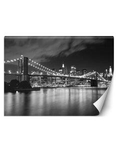 Papier peint Pont de Brooklyn la nuitL | Feeby | Noir et blanc
