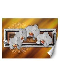 Papier peint Géométrie & orchidéesL   Feeby   Marron