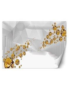 Papier peint Pierres dorées dans un tunnel abstraitL   Feeby   Gris