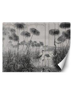 Papier peint Oiseaux dans un étangL | Feeby | Noir et blanc