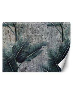Papier peint Feuilles exotiques sur fond grisL | Feeby | Vert