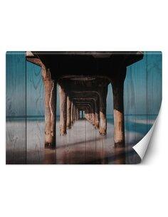 Papier peint Tunnel en bois sous la jetéeL | Feeby | Marron