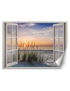 Papier peint coucher de soleil sur la plageL | Feeby | Bleu
