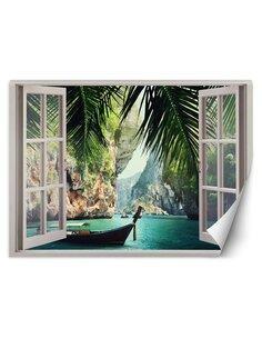 Papier peint Fenêtre donnant sur la baie paradisiaqueL   Feeby   Vert