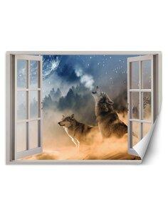 Papier peint loups hurlantsL | Feeby | Bleu