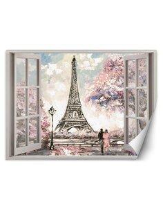 Papier peint Fenêtre donnant sur la Tour EiffelL | Feeby | Rose