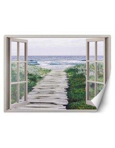 Papier peint Passerelle de fenêtre sur la plageL   Feeby   Beige