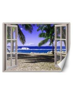 Papier peint Fenêtre avec vue sur la plage tropicaleL | Feeby | Bleu