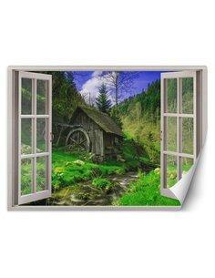 Papier peint vue d'une cabane dans la forêtL   Feeby   Vert