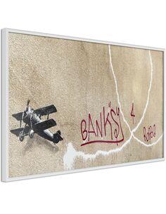 Tableau cadre Banksy: avion d'amour