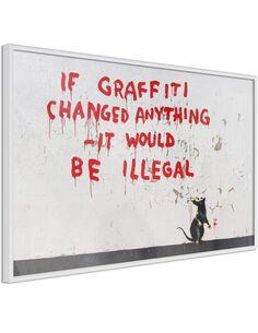 Tableau cadre Banksy: Si Graffiti change quelque chose