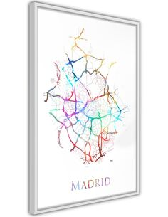 Tableau cadre Carte de la ville: Madrid