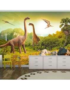 Papier peint adhésif Dinosaures | Artgeist | Brun, vert, jaune, beige