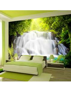 Papier peint adhésif Cascade arcadienne | Artgeist | Blanc, vert, brun, turquoise