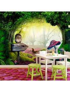 Papier peint adhésif Le coin des chouettes | Artgeist | Vert, rose