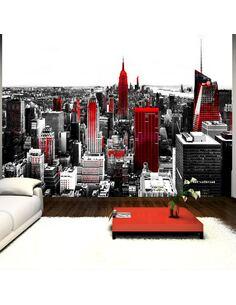 Papier peint adhésif Ville du péché   Artgeist   Noir et blanc, rouge