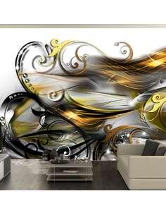 Papier peint adhésif Expression d'or | Artgeist | Jaune, blanc, noir, doré, gris