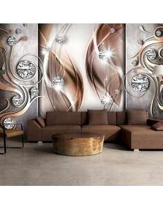 Papier peint adhésif Marron et diamants | Artgeist | Brun, argent, gris, blanc