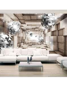 Papier peint adhésif Dans un tunnel en bois   Artgeist   Brun, argent, blanc