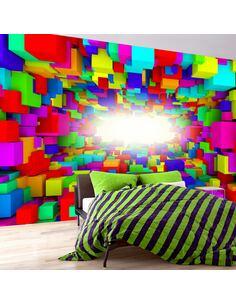 Papier peint adhésif Géométrie de couleur claire | Artgeist | Rose, bleu, blanc, jaune, orange, bleu marine, rouge