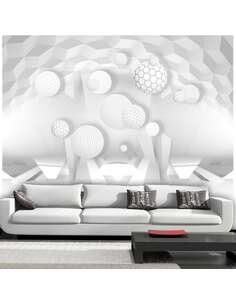 Papier peint adhésif Des cercles dans l'espace   Artgeist   Blanc, gris