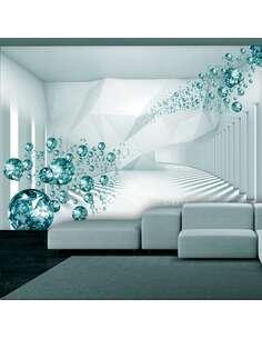 Papier peint adhésif Couloir diamant | Artgeist | Bleu, blanc, gris