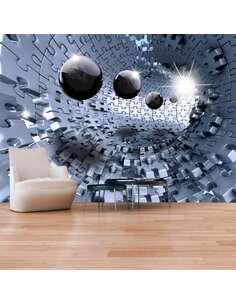 Papier peint adhésif Puzzle abstrait   Artgeist   Gris, noir, blanc