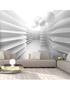Papier peint adhésif Labyrinthe blanc   Artgeist   Gris, blanc