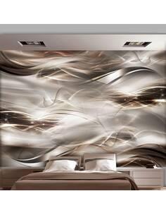 Papier peint adhésif Vagues d'ombre | Artgeist | Brun, blanc