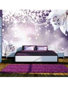 Papier peint adhésif La coquetterie de lily | Artgeist | Violet, blanc, gris
