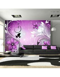 Papier peint adhésif Danse de la bruyère   Artgeist   Violet, blanc, noir