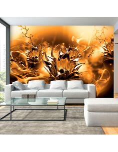 Papier peint adhésif Fleur huileuse | Artgeist | Orange, noir