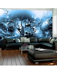 Papier peint adhésif Fleur grasse   Artgeist   Bleu, noir