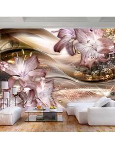 Papier peint adhésif Lys sur la vague   Artgeist   Brun, beige, violet