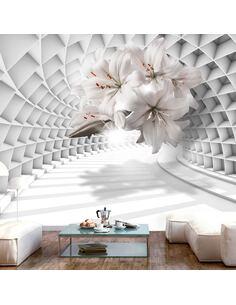 Papier peint adhésif Fleurs dans le tunnel | Artgeist | Blanc, gris