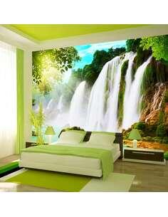Papier peint adhésif La beauté de la nature, cascade | Artgeist | Turquoise, vert, blanc, jaune, brun