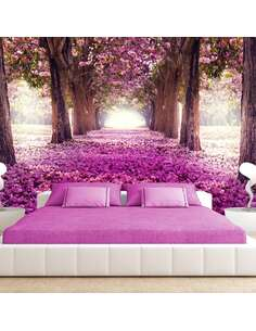 Papier peint adhésif Chemin rose | Artgeist | Rose, brun, blanc