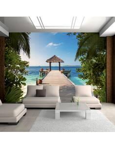 Papier peint adhésif Rêve hawaïen | Artgeist | Azuré, vert, blanc, beige