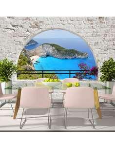 Papier peint adhésif L'île zakynthos | Artgeist | Gris, bleu marine, vert