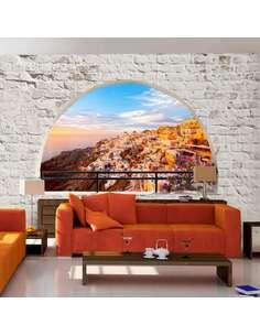 Papier peint adhésif Santorin | Artgeist | Argent, brun, bleu, orange