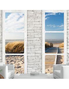 Papier peint adhésif Plage depuis la fenêtre | Artgeist | Blanc, beige, bleu