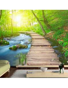 Papier peint adhésif Forêt verte   Artgeist   Vert, brun, jaune