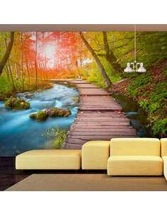 Papier peint adhésif Oasis de paix | Artgeist | Vert, bleu, brun, rouge