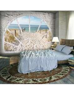 Papier peint adhésif Vue sur la plage | Artgeist | Gris, beige, bleu, blanc, brun